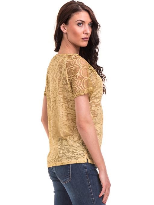 Дамска блуза с дантелен ръкав XINT 212 - тютюнево зелена B