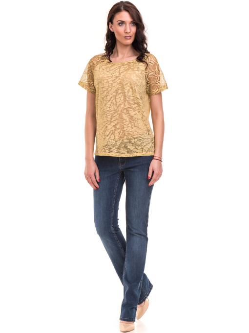 Дамска блуза с дантелен ръкав XINT 212 - тютюнево зелена C