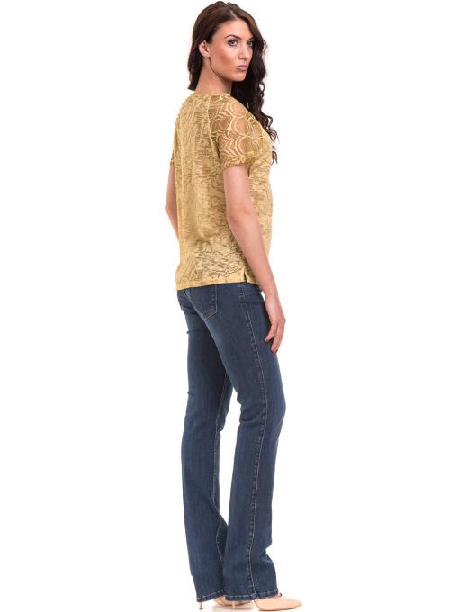 Дамска блуза с дантелен ръкав XINT 212 - тютюнево зелена E