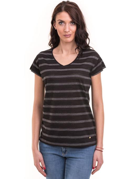 Дамска блуза на райе с V-образно деколте XINT 217 - черна