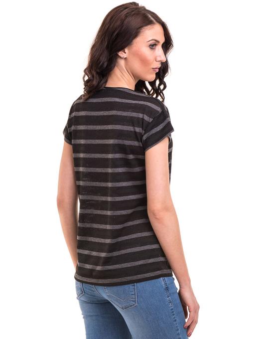 Дамска блуза на райе с V-образно деколте XINT 217 - черна B