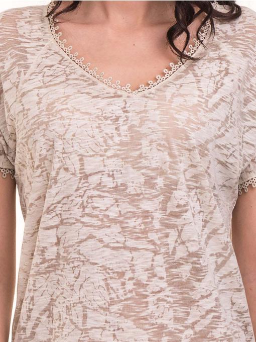 Дамска блуза с V-образно деколте XINT 224 - светло бежова D