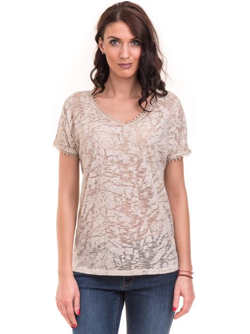 Дамска блуза с V-образно деколте XINT 224 - светло бежова