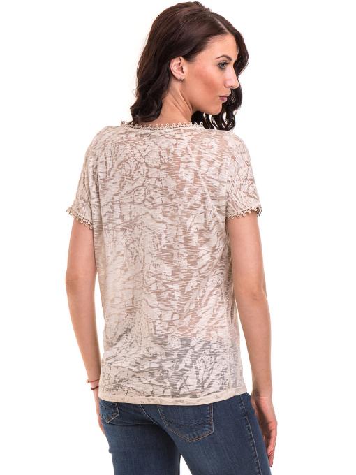 Дамска блуза с V-образно деколте XINT 224 - светло бежова B