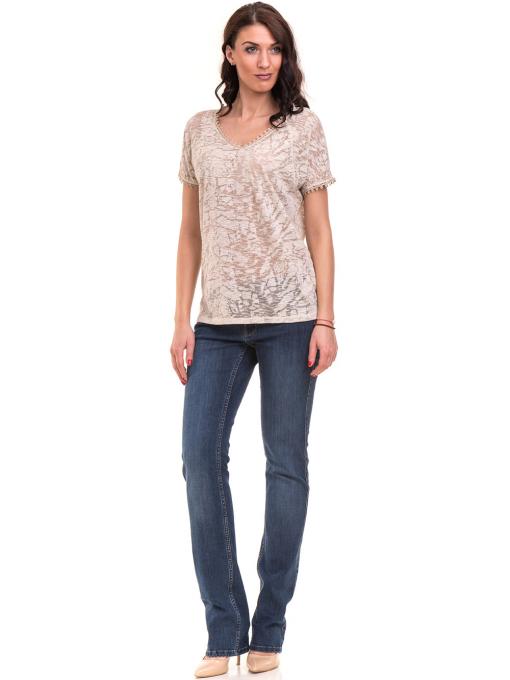 Дамска блуза с V-образно деколте XINT 224 - светло бежова C
