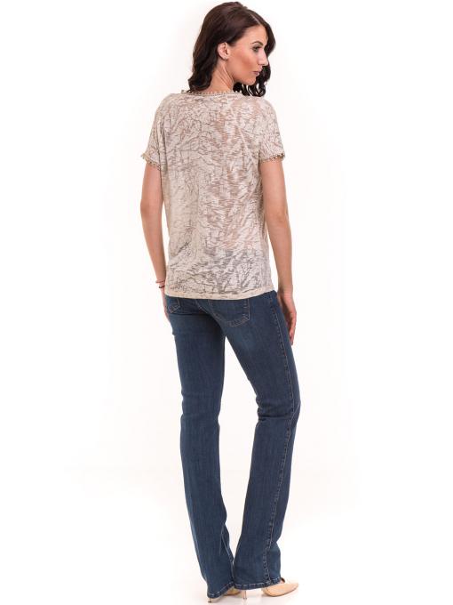 Дамска блуза с V-образно деколте XINT 224 - светло бежова E
