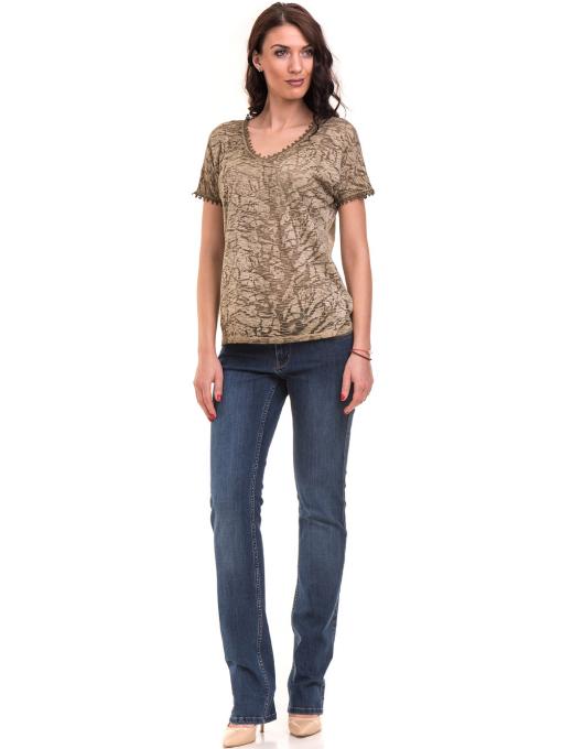 Дамска блуза с V-образно деколте XINT 224 - цвят каки C1