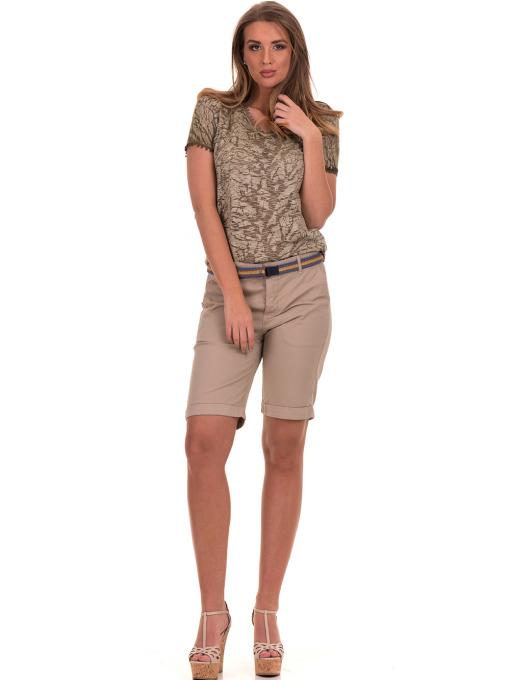 Дамска блуза с V-образно деколте XINT 224 - цвят каки C