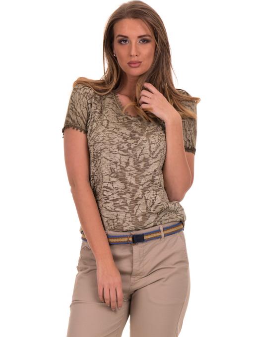 Дамска блуза с V-образно деколте XINT 224 - цвят каки