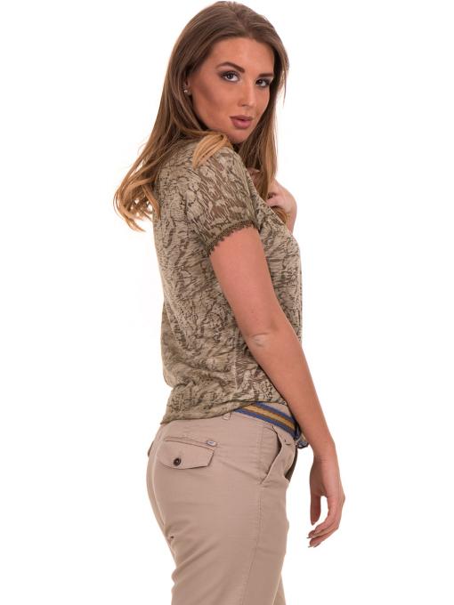 Дамска блуза с V-образно деколте XINT 224 - цвят каки B