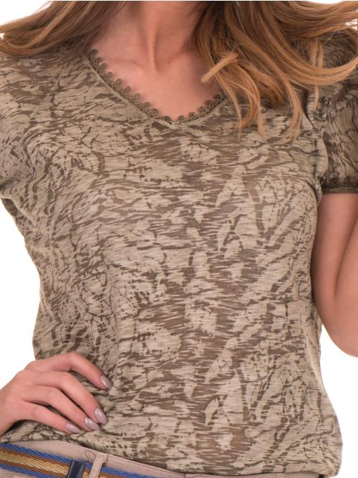 Дамска блуза с V-образно деколте XINT 224 - цвят каки D