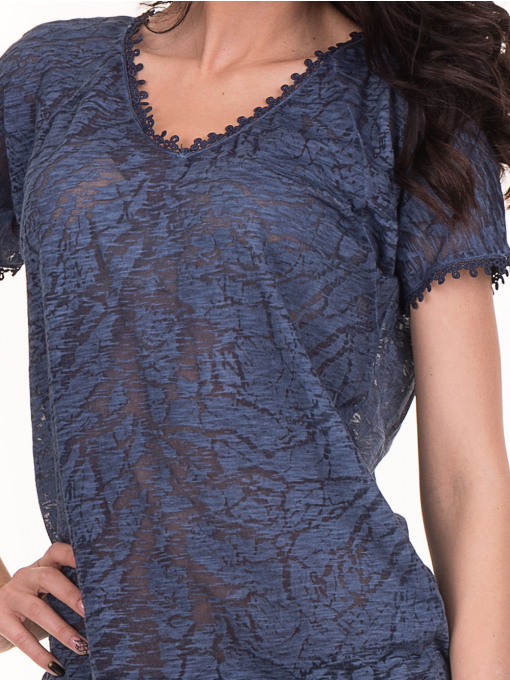 Дамска блуза с V-образно деколте XINT 224 - тъмно синя D