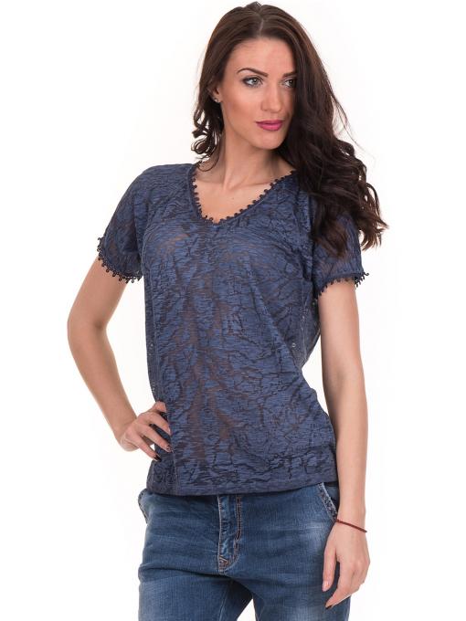 Дамска блуза с V-образно деколте XINT 224 - тъмно синя