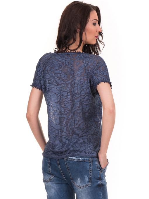 Дамска блуза с V-образно деколте XINT 224 - тъмно синя B