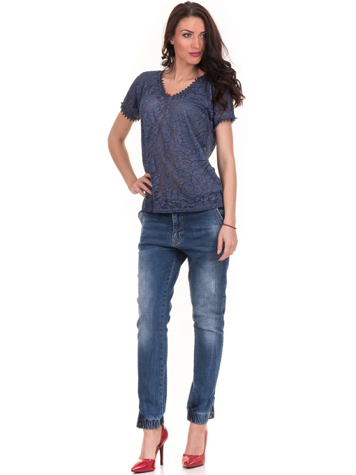 Дамска блуза с V-образно деколте XINT 224 - тъмно синя C