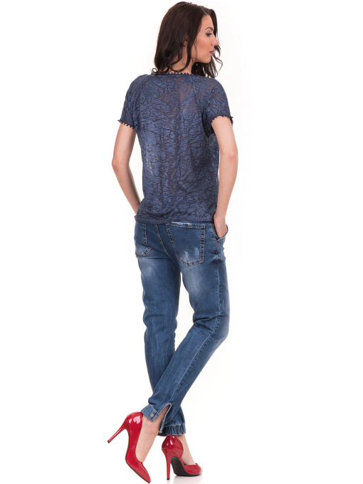 Дамска блуза с V-образно деколте XINT 224 - тъмно синя E
