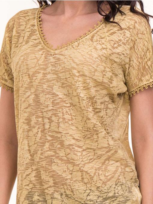 Дамска блуза с V-образно деколте XINT 224 - тютюнево зелена D