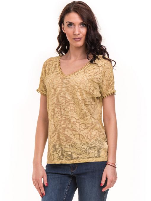 Дамска блуза с V-образно деколте XINT 224 - тютюнево зелена