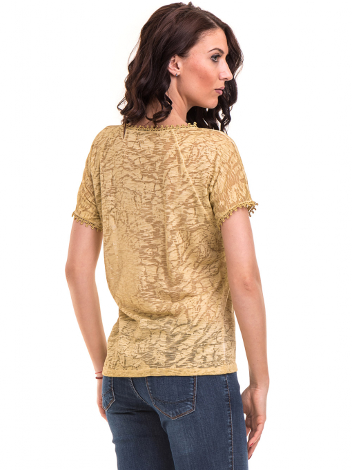 Дамска блуза с V-образно деколте XINT 224 - тютюнево зелена B