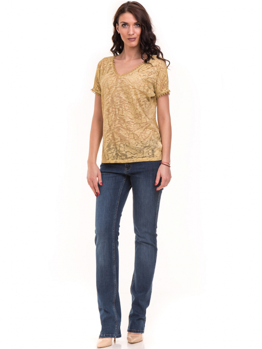 Дамска блуза с V-образно деколте XINT 224 - тютюнево зелена E
