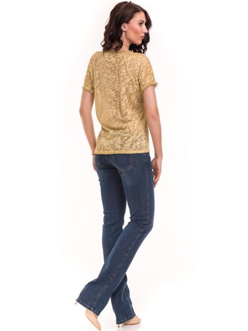 Дамска блуза с V-образно деколте XINT 224 - тютюнево зелена C
