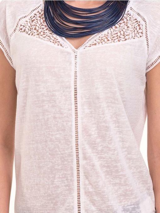 Дамска блуза с V-образно деколте XINT 225 - бяла D