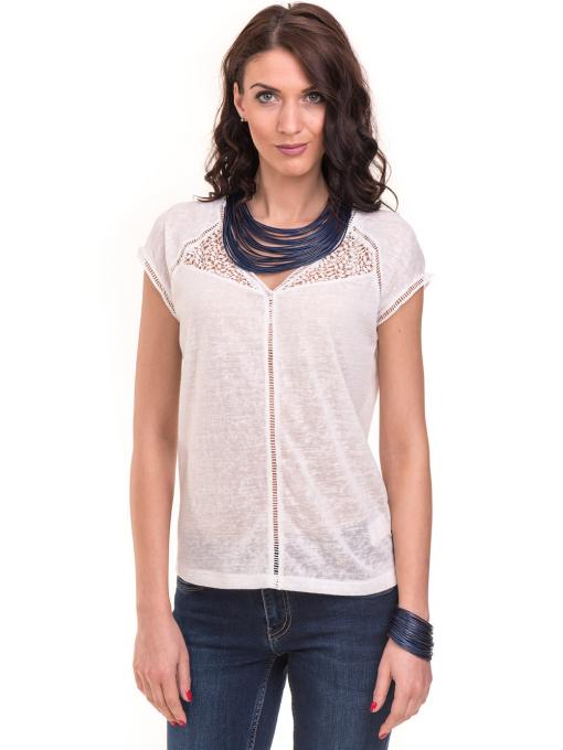 Дамска блуза с V-образно деколте XINT 225 - бяла