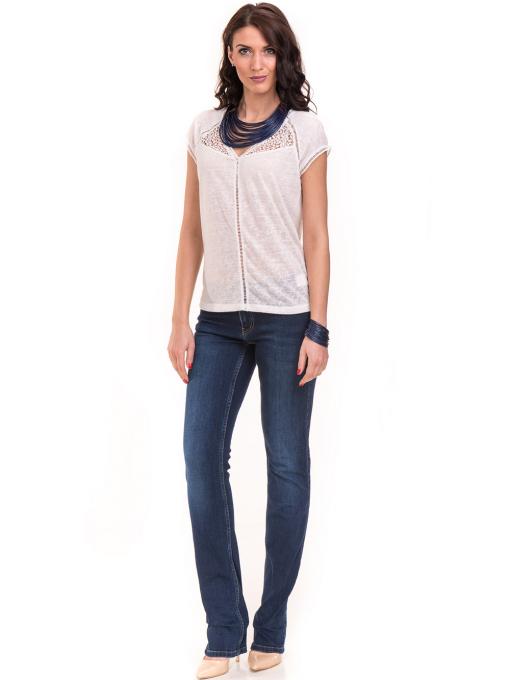 Дамска блуза с V-образно деколте XINT 225 - бяла C