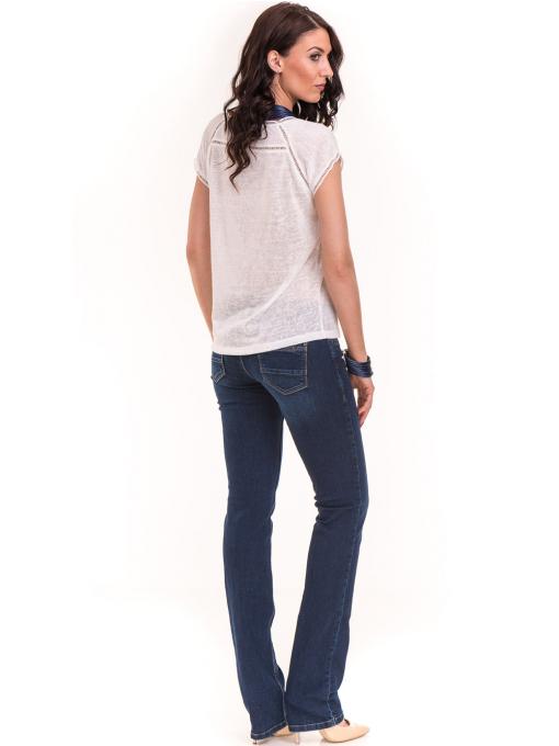 Дамска блуза с V-образно деколте XINT 225 - бяла E