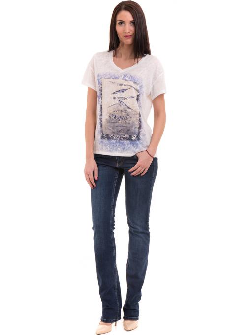Дамска блуза с щампа XINT 235 - бяла C1