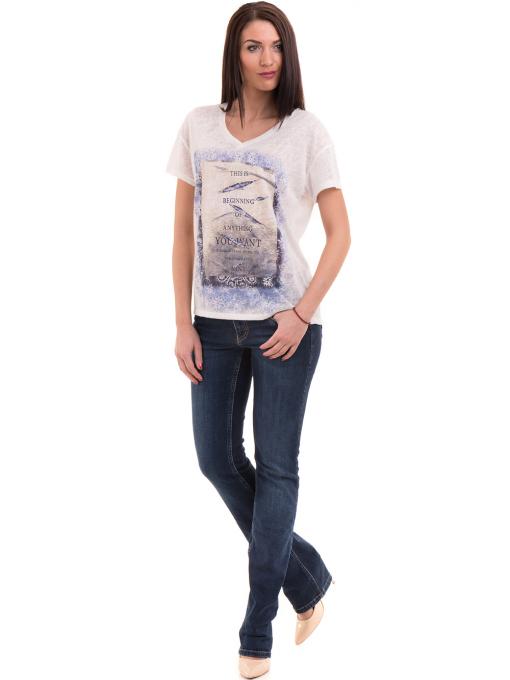Дамска блуза с щампа XINT 235 - бяла C