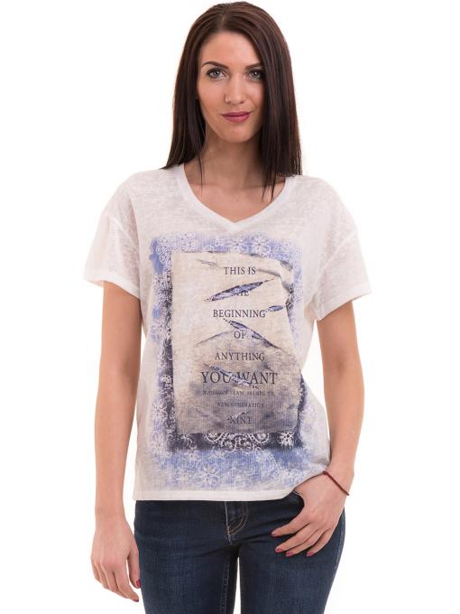 Дамска блуза с щампа XINT 235 - бяла