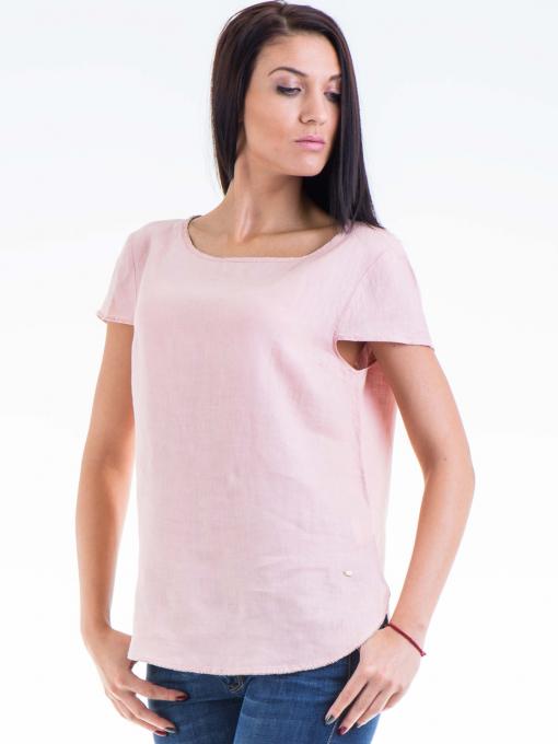 Дамска ленена блуза  XINT 263 - розова
