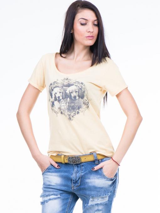 Дамска тениска с щампа XINT 384 - жълта