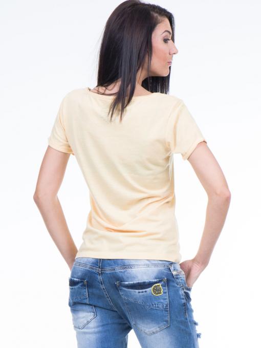 Дамска тениска с щампа XINT 384 - жълта B