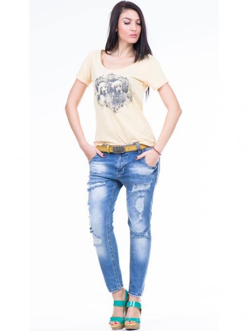 Дамска тениска с щампа XINT 384 - жълта C
