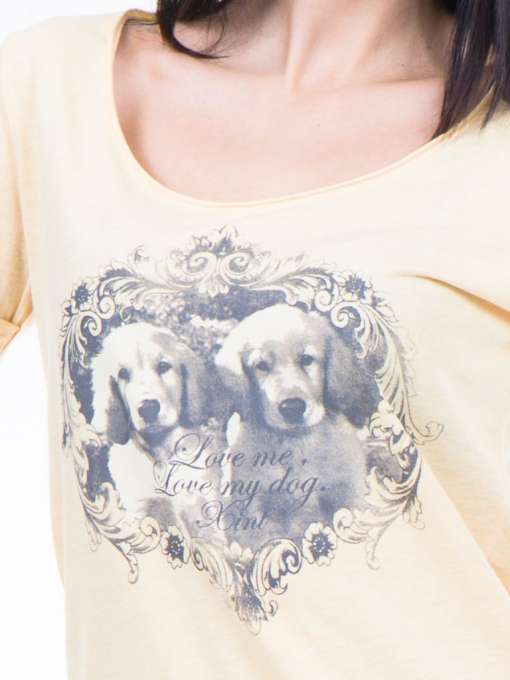 Дамска тениска с щампа XINT 384 - жълта D