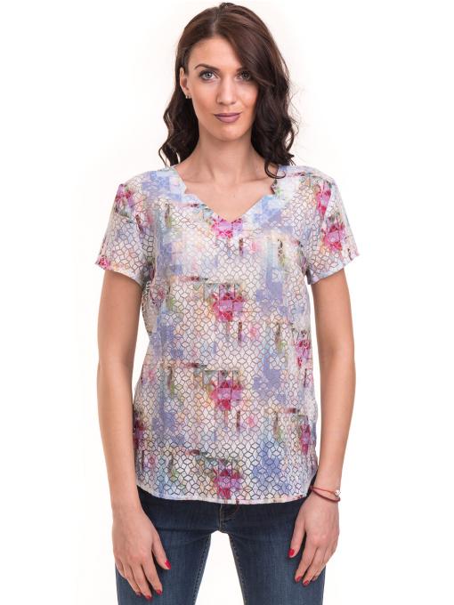 Дамска блуза с V-образно деколте XINT 401 - светло синя