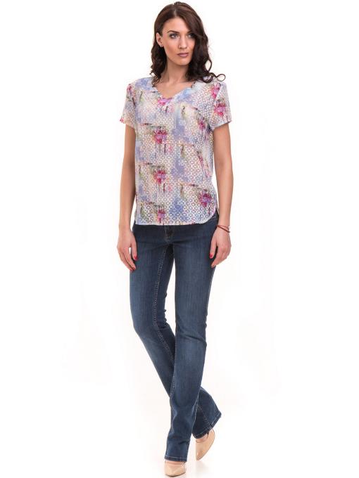 Дамска блуза с V-образно деколте XINT 401 - светло синя C