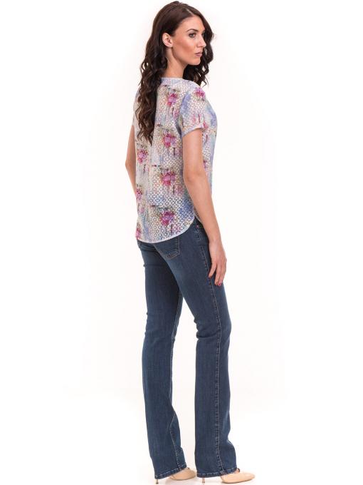 Дамска блуза с V-образно деколте XINT 401 - светло синя E