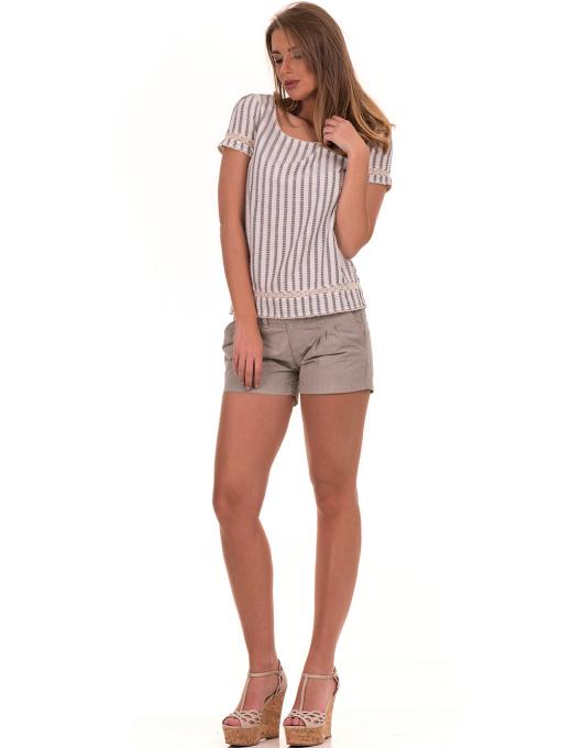 Дамска блуза на райе XINT 453 - цвят екрю C