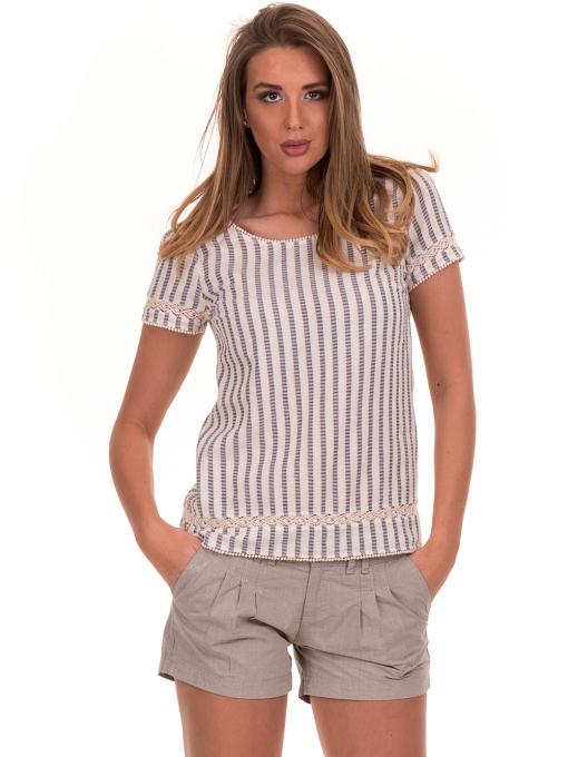 Дамска блуза на райе XINT 453 - цвят екрю
