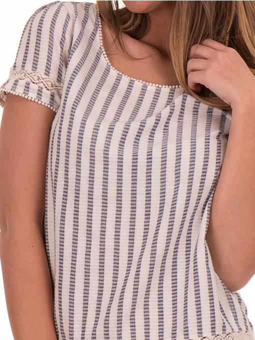 Дамска блуза на райе XINT 453 - цвят екрю D