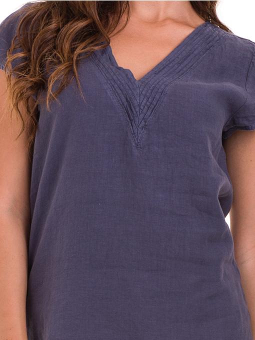 Дамска блуза с V-образно деколте XINT 488 - тъмно синя D