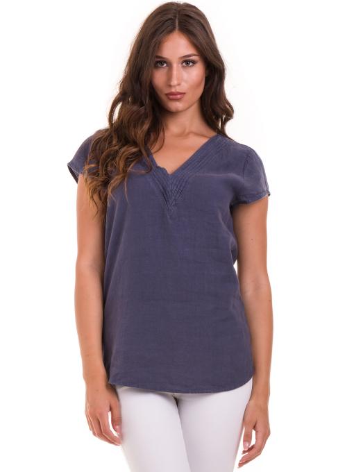 Дамска блуза с V-образно деколте XINT 488 - тъмно синя