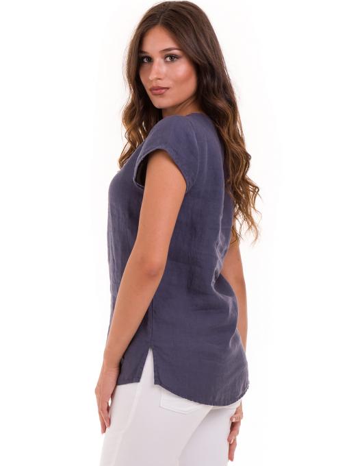 Дамска блуза с V-образно деколте XINT 488 - тъмно синя B