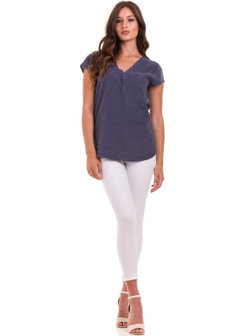Дамска блуза с V-образно деколте XINT 488 - тъмно синя C