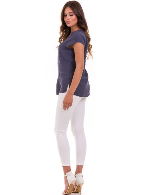 Дамска блуза с V-образно деколте XINT 488 - тъмно синя E