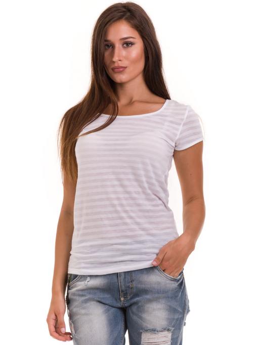 Дамска блуза на райе XINT 591 - бяла