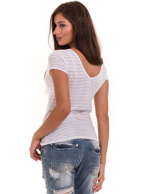Дамска блуза на райе XINT 591 - бяла B
